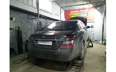 Отключение и удаление сажевого фильтра Mercedes s320, замена гофры